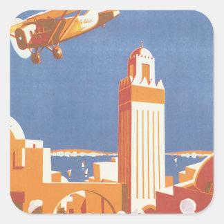 Au Maroc Par Avion Vintage Travel Poster Square Sticker