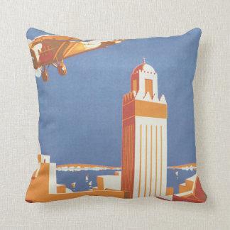 Au Maroc Par Avion Vintage Travel Poster Throw Pillow