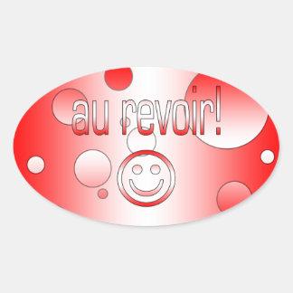 Au Revoir! Canada Flag Colors Pop Art Oval Sticker