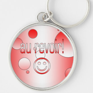 Au Revoir! Canada Flag Colors Pop Art Silver-Colored Round Keychain