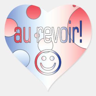 Au Revoir! French Flag Colors Pop Art Heart Sticker