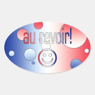 Au Revoir! French Flag Colors Pop Art Oval Sticker