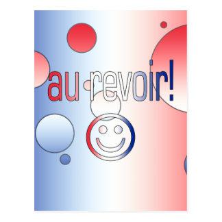 Au Revoir! French Flag Colors Pop Art Postcard
