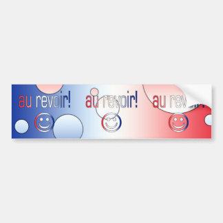 ¡Au Revoir La bandera francesa colorea arte pop Etiqueta De Parachoque