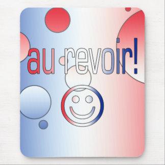 ¡Au Revoir! La bandera francesa colorea arte pop Tapetes De Raton