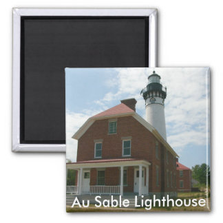 Au Sable Lighthouse 2 Inch Square Magnet
