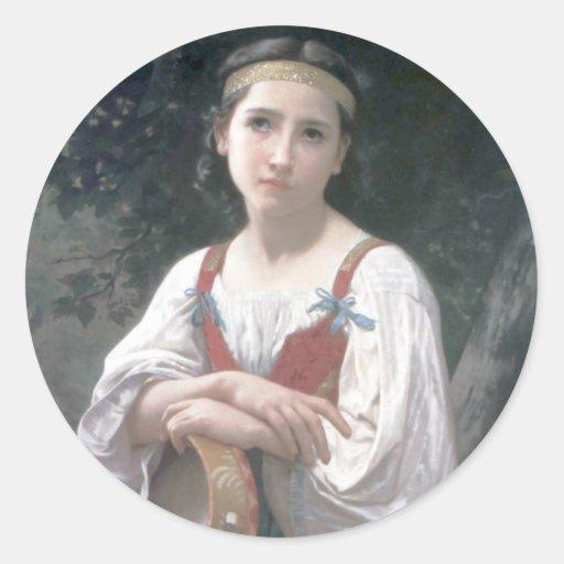 Au Tambour de basque de Bouguereau - de Bohemienne Pegatina Redonda