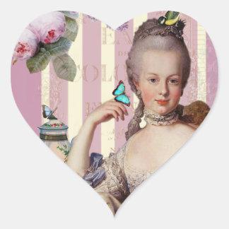 Au Trianon pequeno de Thé - color de rosa Pegatina En Forma De Corazón
