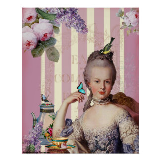 Au Trianon pequeno de Thé - color de rosa Póster
