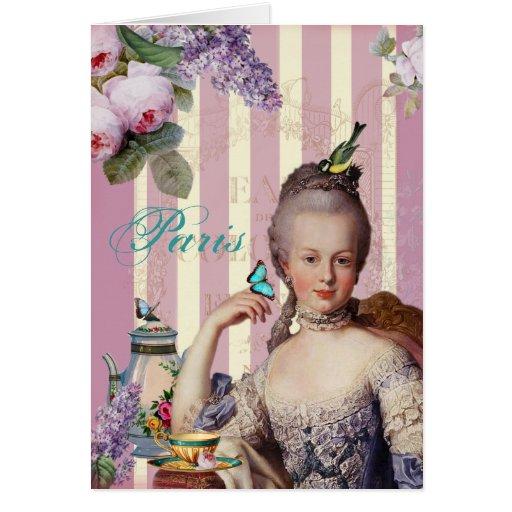 Au Trianon pequeno de Thé - el rosa le agradece Tarjeta De Felicitación