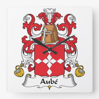 Aube Family Crest Square Wall Clock