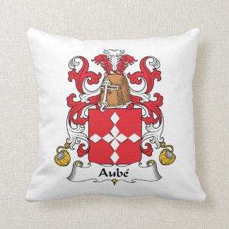 Aube Family Crest Throw Pillow