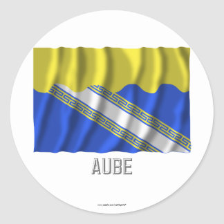 Aube waving flag with name classic round sticker