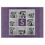 Aubergine and White Photo Collage Custom Monogram Cutting Board