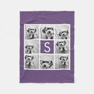Aubergine and White Photo Collage Custom Monogram Fleece Blanket