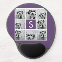Aubergine and White Photo Collage Custom Monogram Gel Mouse Pad