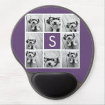 Aubergine and White Photo Collage Custom Monogram Gel Mouse Mats