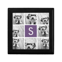 Aubergine and White Photo Collage Custom Monogram Jewelry Box