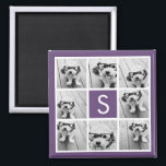"""Aubergine and White Photo Collage Custom Monogram Magnet<br><div class=""""desc"""">You can use Instagram photos for this design. Use 8 square photos to create a unique and personal gift. Or you can keep the hipster puppy and make a trendy keepsake. If you need to adjust the pictures,  click on the customize tool to make changes.</div>"""