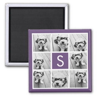 Aubergine and White Photo Collage Custom Monogram Magnet