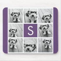 Aubergine and White Photo Collage Custom Monogram Mouse Pad