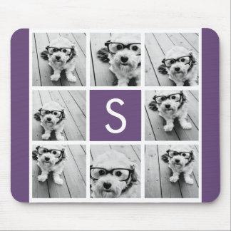 Aubergine and White Photo Collage Custom Monogram Mouse Pad