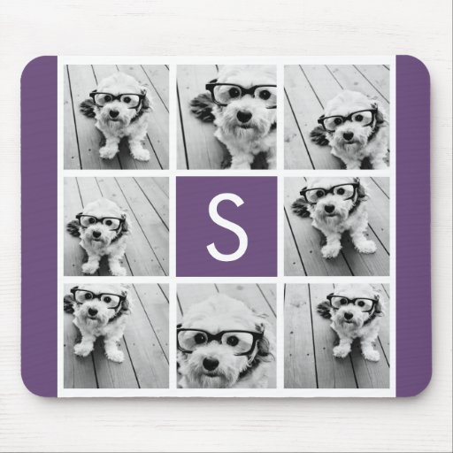 Aubergine and White Photo Collage Custom Monogram Mousepads