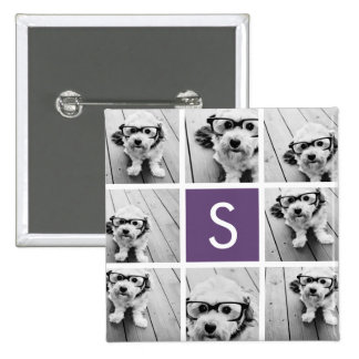Aubergine and White Photo Collage Custom Monogram Pinback Button
