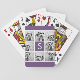 Aubergine and White Photo Collage Custom Monogram Playing Cards