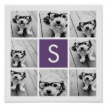 Aubergine and White Photo Collage Custom Monogram Poster
