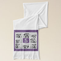 Aubergine and White Photo Collage Custom Monogram Scarf