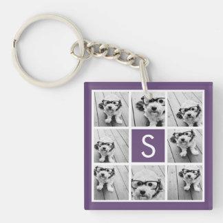 Aubergine and White Photo Collage Custom Monogram Single-Sided Square Acrylic Keychain