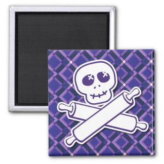 Aubergine Chef Logo Square Magnet