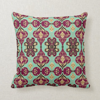 Aubergine French Colonial Pattern Eggplant + Mint Throw Pillow