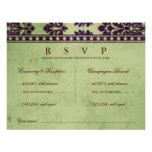 Aubergine Olive Damask Lace Wedding Double RSVP Custom Invitations