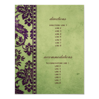 Aubergine & Olive Damask Lace Wedding Insert Card