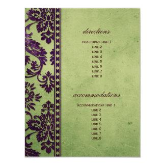 Aubergine & Olive Damask Lace Wedding Insert Personalized Invites