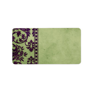 Aubergine & Olive Vintage Damask Lace Fancy Label