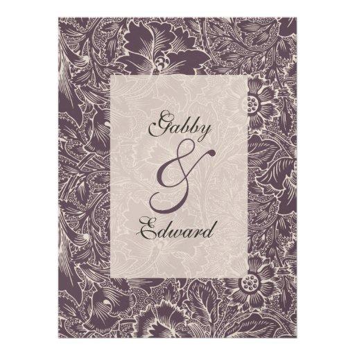 Aubergine Purple Vintage Large Wedding Invitation 65 X 875 Invitation Card