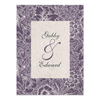Aubergine Purple Vintage Large Wedding Invitation