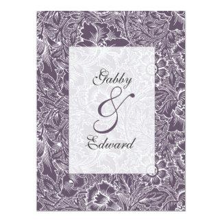 Aubergine Purple Vintage Long Wedding Invitation