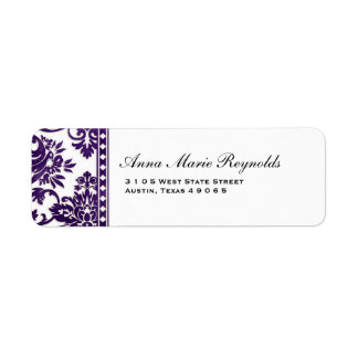 Aubergine Vintage Damask Lace Fancy Label