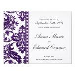 "Aubergine Vintage Damask Lace Save the Date 4.25"" X 5.5"" Invitation Card"