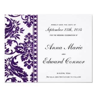 Aubergine Vintage Damask Lace Save the Date 4.25x5.5 Paper Invitation Card