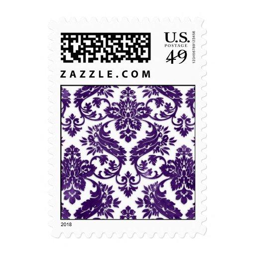 Aubergine Vintage Damask Wedding Stamps