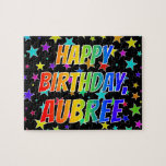 "[ Thumbnail: ""Aubree"" First Name, Fun ""Happy Birthday"" Jigsaw Puzzle ]"