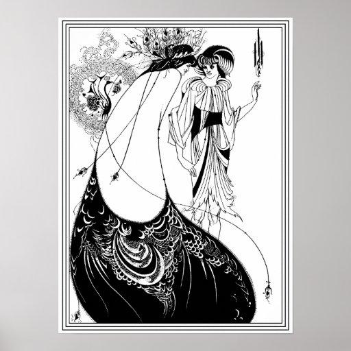 Aubrey Beardsley - la falda del pavo real Impresiones
