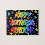 "[ Thumbnail: ""Aubrey"" First Name, Fun ""Happy Birthday"" Jigsaw Puzzle ]"