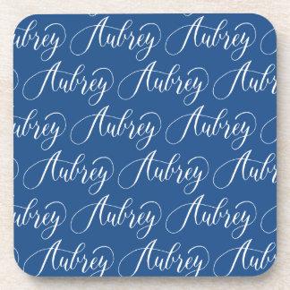 Aubrey - Modern Calligraphy Name Design Beverage Coaster