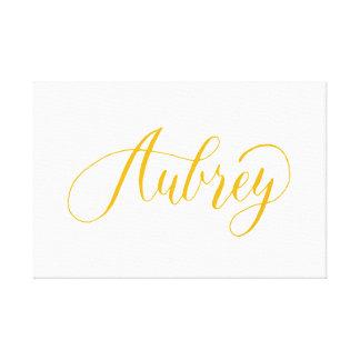 Aubrey - Modern Calligraphy Name Design Canvas Print